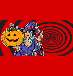 witch with halloween pumpkin announce party vector image