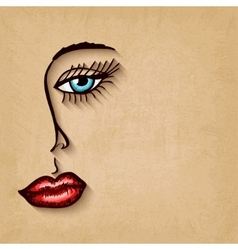 woman face blue eyes red lips on old background vector image