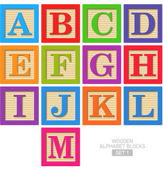 Wooden alphabet blocks vector