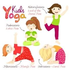 Yoga kids set 3 vector
