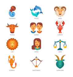 zodiac signs astrology zodiacal symbol or vector image