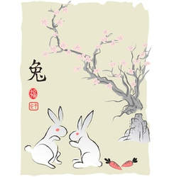 Chineses Rabbit Lunar year Ink Painting vector image