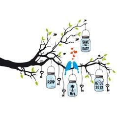 wedding invitation birds on tree with jars vector image