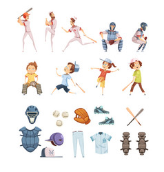baseball cartoon retro style icons set vector image