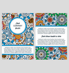 brochure design with blue floral background vector image vector image
