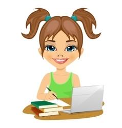 cute schoolgirl doing homework with laptop vector image