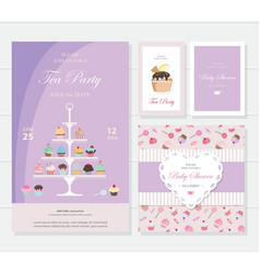 Cute templates with cupcakes stand and sweets vector image vector image
