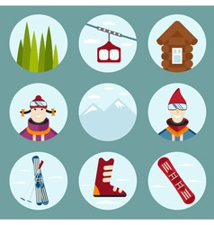 flat design icons on ski and snowboard theme vector image vector image