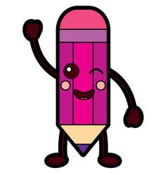 Pencil happy school supplies kawaii icon ima vector
