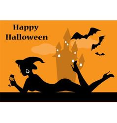 silhouette of beautiful witch with a glass vector image vector image