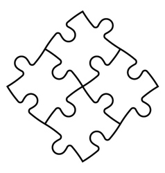 Solved jigsaw puzzle of four pieces vector image