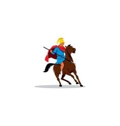 Ancient Greek warrior on horseback preparing to vector image