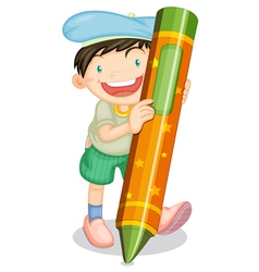 boy with pencil vector image vector image