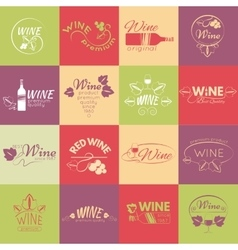 Set of wine labels badges and logos for design vector image