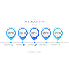 5 steps timeline infographic template vector image