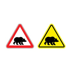 Attention bear warning sign Hazard yellow sign vector image vector image