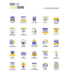 flat line multicolor icons design-web design and vector image vector image