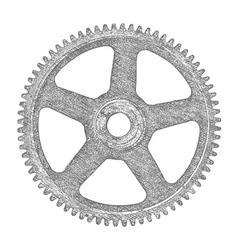 Hand drawn gear vector image