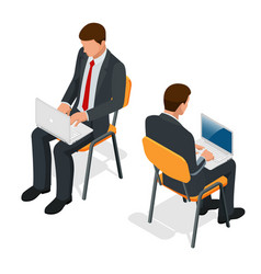 isometric man in suit sitting with a laptop on his vector image