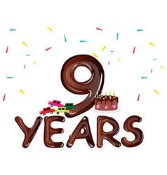nine years anniversary celebration card vector image