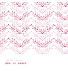 Pink lineart leaves chevron horizontal frame vector image vector image