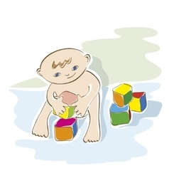 small child playing with cubes vector image vector image