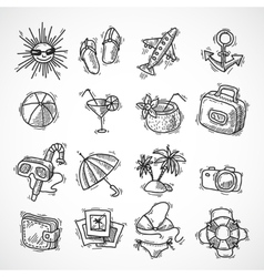 Summer vacation icon set vector image