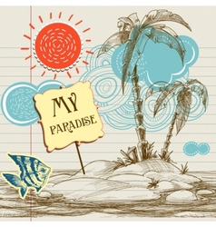 Tropical paradise background sea holiday flyer vector image vector image