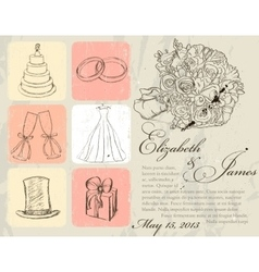 Vintage wedding poster vector image vector image