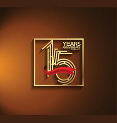 15 years anniversary logotype golden color vector