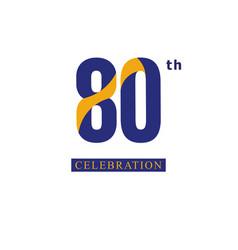 80 th anniversary celebration orange blue vector