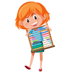 A girl holding abacus vector