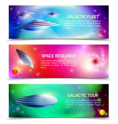 Alien spaceship horizontal banners vector