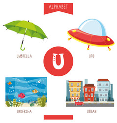 Alphabet letter u and pictures vector
