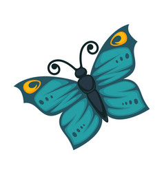 amazing blue butterfly with yellow pattern and vector image