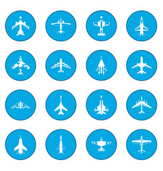 Aviation set icon blue vector