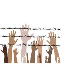 Barbed wire with hands on theme vector