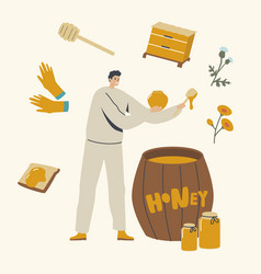 beekeeper character put honey to glass jars from vector image