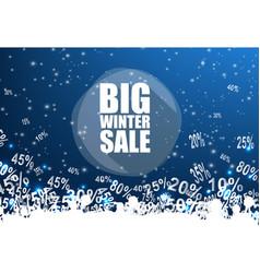 big winter sale banner over blue background vector image