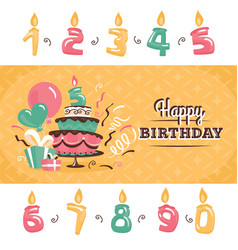 birthday greeting card with big cake vector image