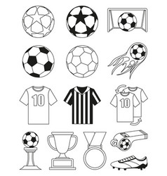 black and white soccer 14 elements set vector image