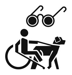 blind man wheelchair dog icon simple style vector image