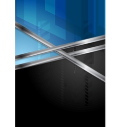 Blue and black tech background with metal stripe vector image