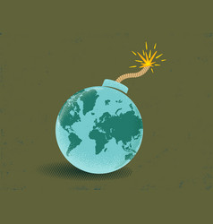 bomb with world map vector image