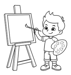 Boy learning to paint on his canvas bw vector