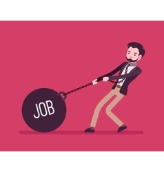 Businessman dragging a weight job on chain vector