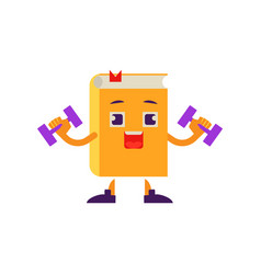 cartoon book character dumbbell workout vector image