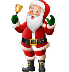 cartoon santa claus ringing bell vector image