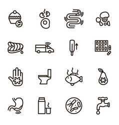 causes of diarrhea black thin line icon set vector image vector image