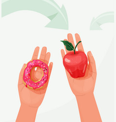 choice food concept between healthy and unhealthy vector image